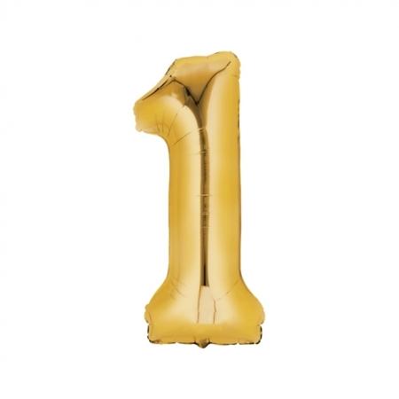 Zahlenballon Zahl 1 gold