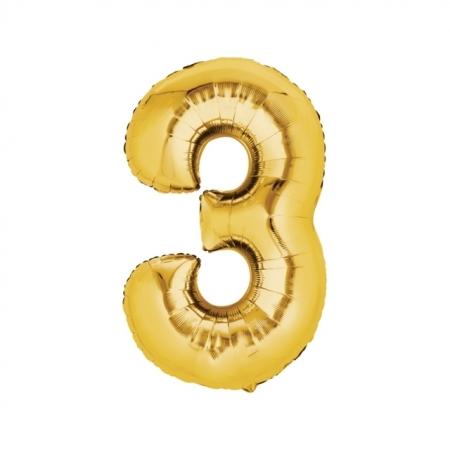 Zahlenballon Zahl 3 Gold