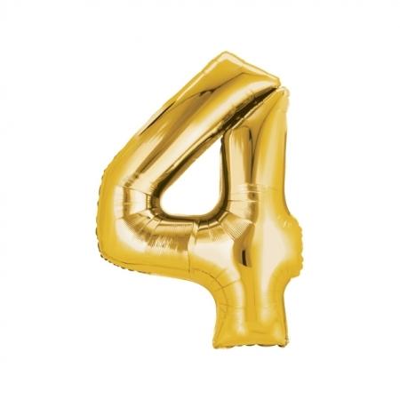 Zahlenballon Zahl 4 gold