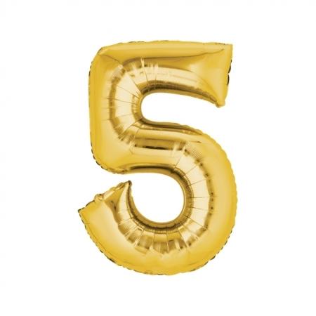 Zahlenballon Zahl 5 gold