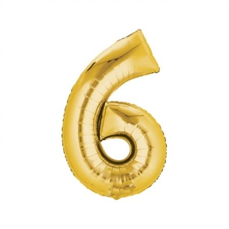 Zahlenballon Zahl 6 Gold