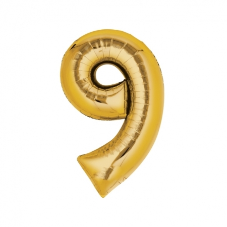 Zahlenballon Zahl 9 gold