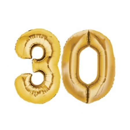 Ballon Zahl 30 Gold XXL 86cm heliumgefüllt