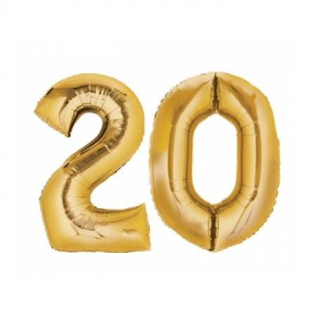 Ballon Zahl 20 Gold XXL 86cm heliumgefüllt