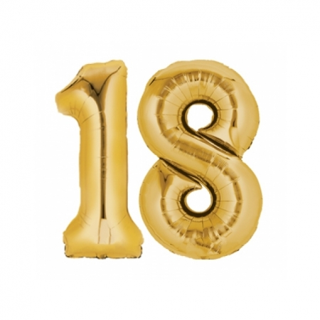 Ballon Zahl 18 Gold XXL 86cm heliumgefüllt