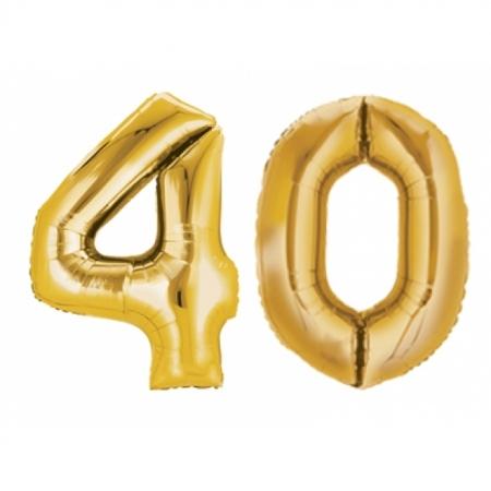 Ballon Zahl 40 Gold XXL 86cm heliumgefüllt