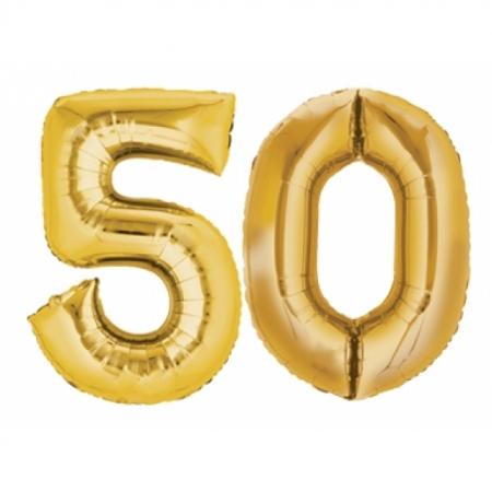 Ballon Zahl 50 Gold XXL 86cm heliumgefüllt
