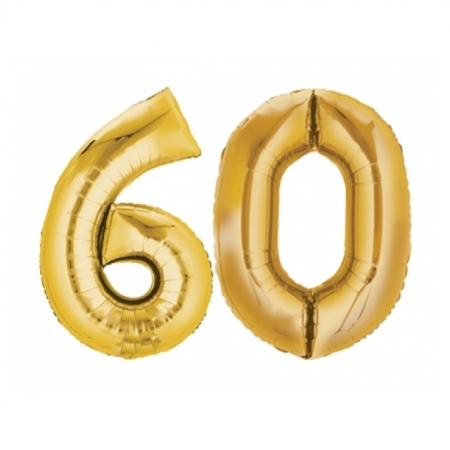 Ballon Zahl 60 Gold XXL 86cm heliumgefüllt