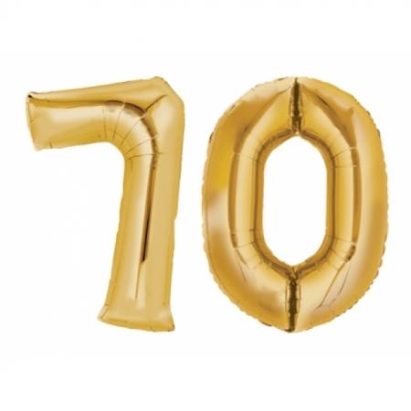 Ballon Zahl 70 Gold XXL 86cm heliumgefüllt