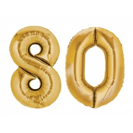 Ballon Zahl 80 Gold XXL 86cm heliumgefüllt