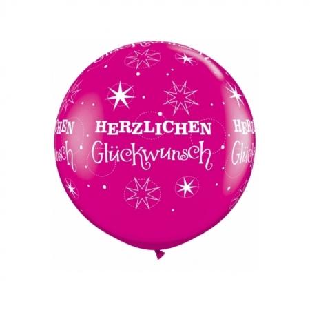 Riesenballon Herzlichen Glückwunsch Wild Berry 75cm