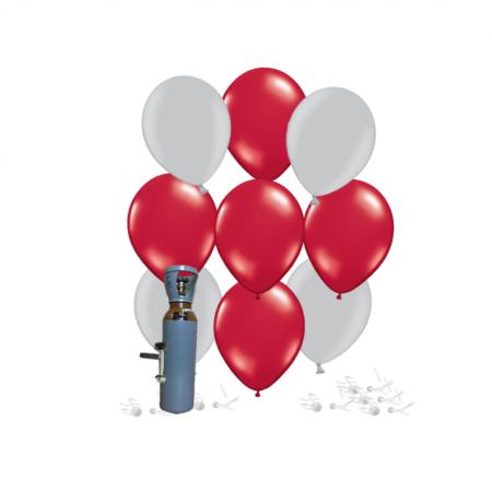 Ballonset silber-rubinrot metallic