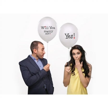 Ballons 30 cm mit Text Will You marry me? & Yes!