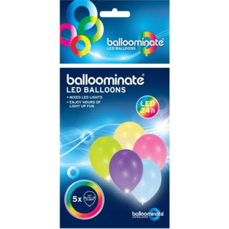 LED Ballons bunt 28-30cm / 5 Stück