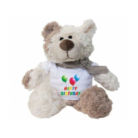 Teddy Bär mit bedrucktem T-Shirt Happy Birthday
