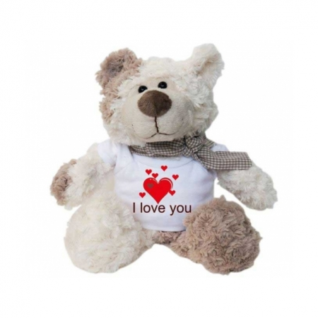 Teddy Bär mit bedrucktem T-Shirt I love you