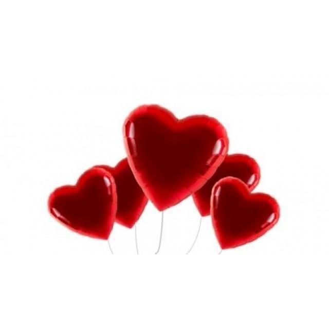 Valentinstag Jumbo Ballonbouquet 5er   Heliumgefüllt Ballonpaket +  Grusstext In Schöner LED Flaschenpost