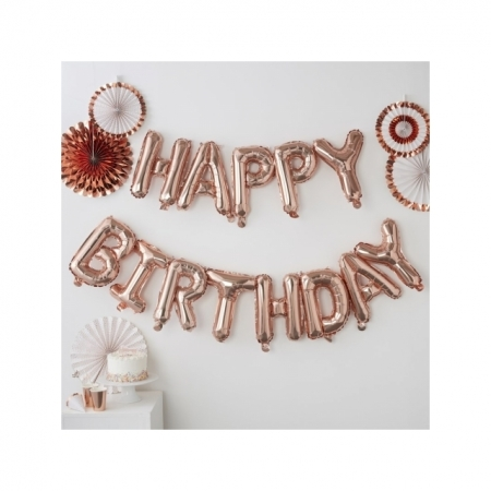 "Ballon-Dekoration ""Happy Birthday"" Kit - Rose Gold"