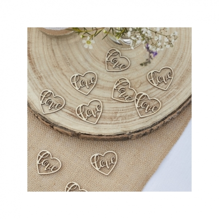 Konfetti Herz love aus Holz