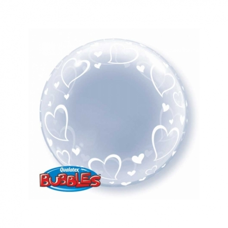 Klarsicht Ballon Bubble mit Herzen 61 cm