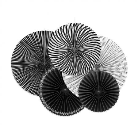 Rosetten im 5er Set schwarz-weiss
