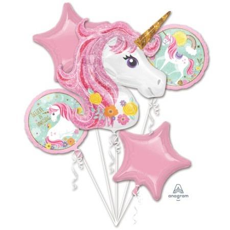 Ballon Bouquet Jumbo magisches Einhorn mit 5 Ballons
