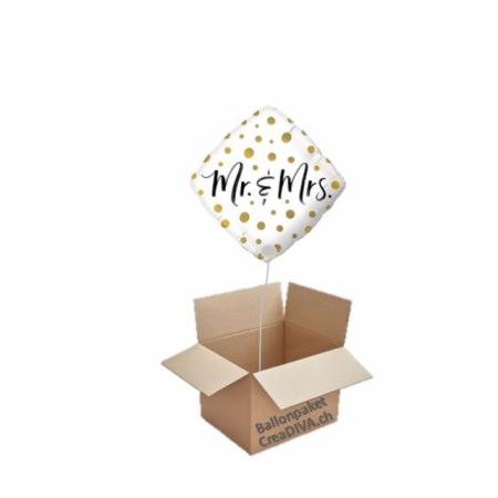 Hochzeitsballon Mr & Mrs Golden Dots