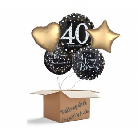 Ballon Bouquet Jumbo Sparkling 40. Geburtstag 5-Ballons