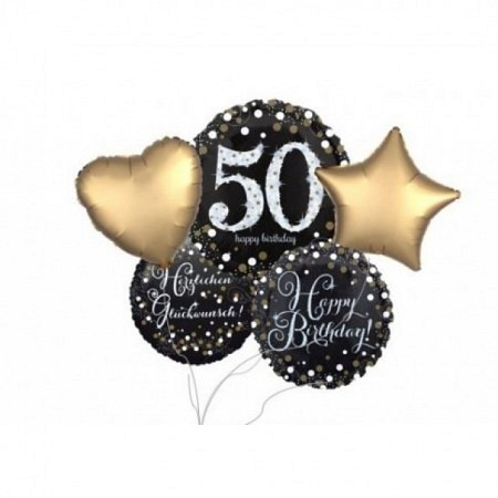 Ballon Bouquet Jumbo Sparkling zum 50. Geburtstag 5-Ballons