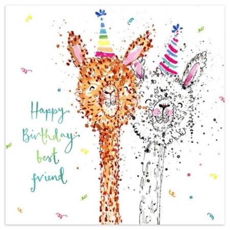 Glückwunschkarte Happy Birthday Lamas