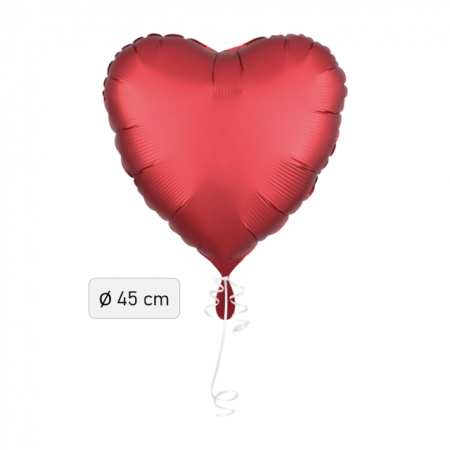 Ballon Herz Satin-Luxe Rot 43cm