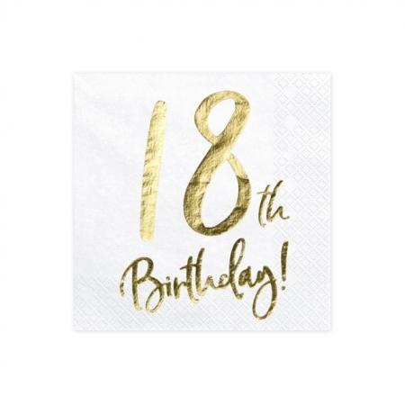 Servietten 18. Geburtstag Weiss mit Golddruck