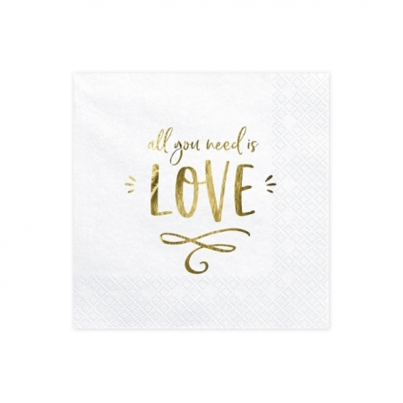 Servietten All you need is Love mit Golddruck