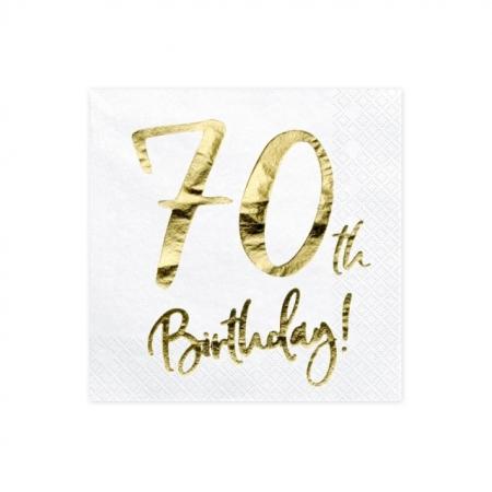 Servietten 70 Geburtstag Weiss mit Golddruck