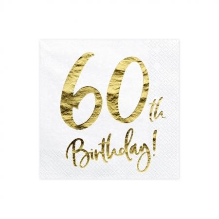 Servietten 60. Geburtstag Weiss mit Golddruck