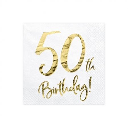 Servietten 50. Geburtstag Weiss mit Golddruck