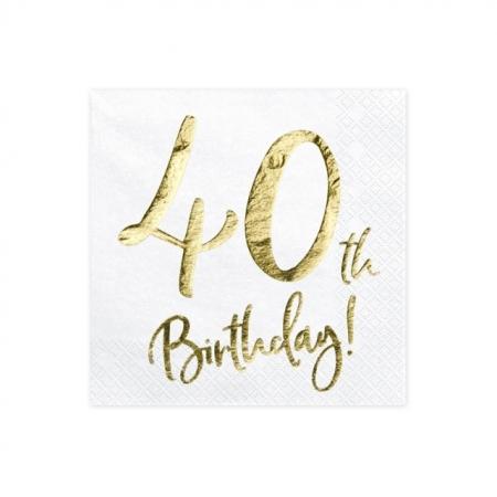 Servietten 40. Geburtstag Weiss mit Golddruck