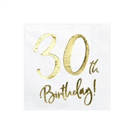 Servietten 30. Geburtstag Weiss mit Golddruck