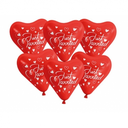 Herzballons Rot Just Married 30 cm