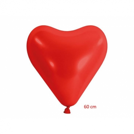 Herzballons Jumbo 60 cm Rot, Helium geeignet