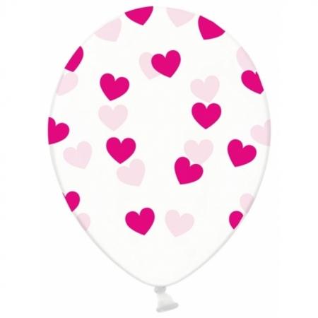 Ballons 30cm, transparent mit pinken Herzen
