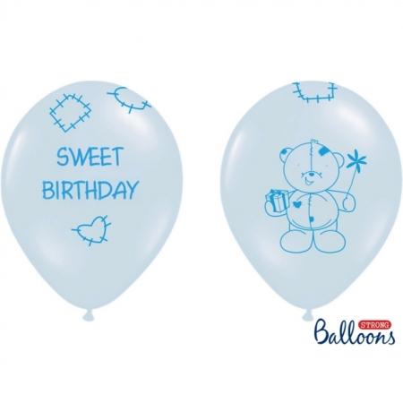 Ballons 30cm, pastell Bär mit Geschenk blau