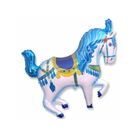Geschenkballon Zirkuspferd Blau - Jumboballon