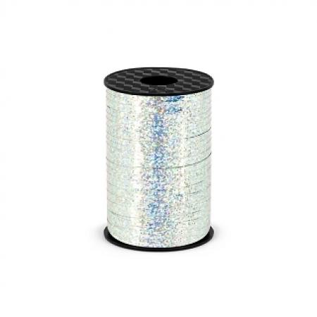Polyband - Geschenkband Silber Holo 5 mm - 225 Meter