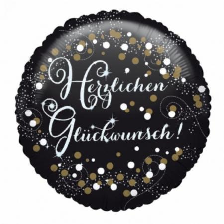 Geburtstag Geschenkballon Schwarz-Gold Sparkling