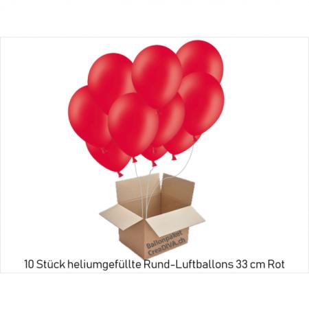 Luftballons mit Helium gefüllt Rundballon Rot mit Ballonband