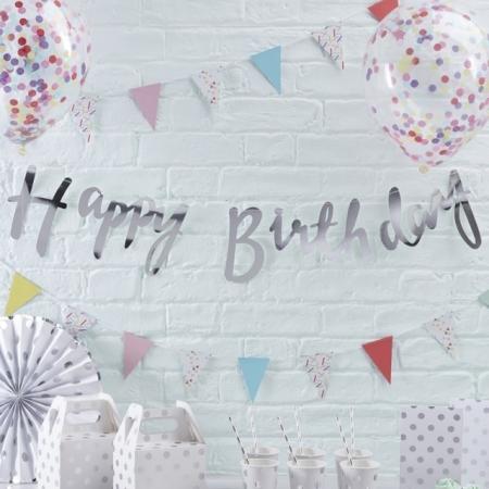 Buchstabengirlande Happy Birthday Silber