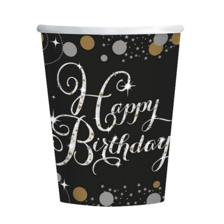 Partybecher Happy Birthday Schwarz-Gold Sparkling