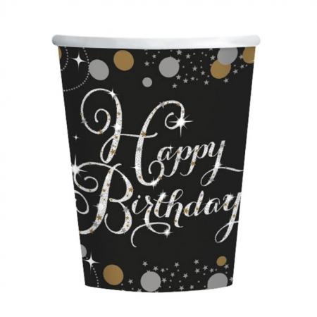 Partybecher Happy Birthday Schwarz-Gold Sparkling