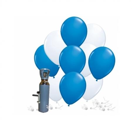 Ballonset mit Öko-Ballons & Helium, Blau-Weiss